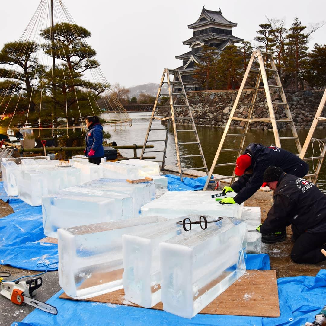bloc de glace et château de matsumoto