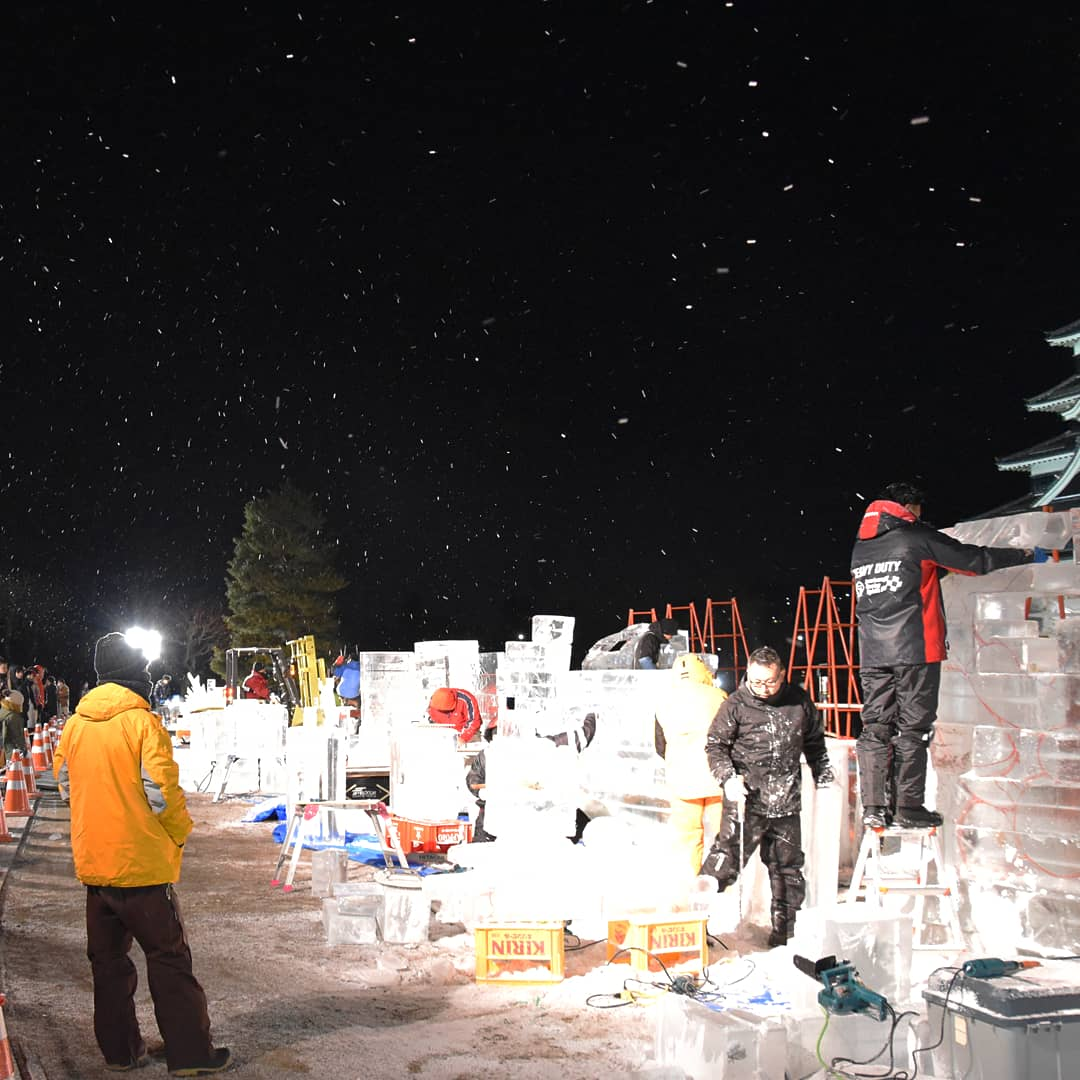 nuit au Festival de Sculpture sur Glace