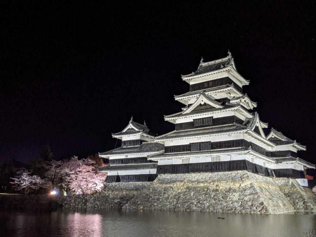 Sakura au Château de Matsumoto nuit